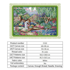 Garden Girl Chinese Cross Stitch Kits Sale 14ct 11ct Counted Print on Canvas DMC Embroidery Needlework Kits Handmade Home Decor