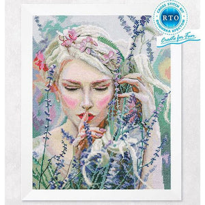 Gold Collection Beautiful Counted Cross Stitch Kit Listening To The Silence Listen Girl Maid Woman and Lavender Flower