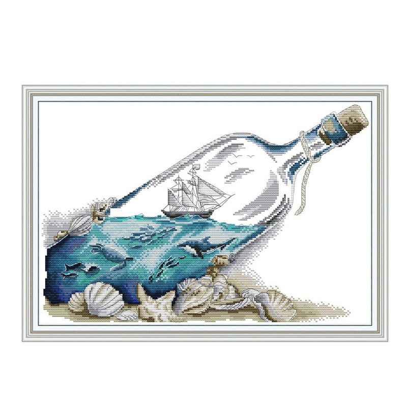 Sea in a bottle cross stitch kit aida 14ct 11ct count print canvas cross stitches   needlework embroidery DIY handmade