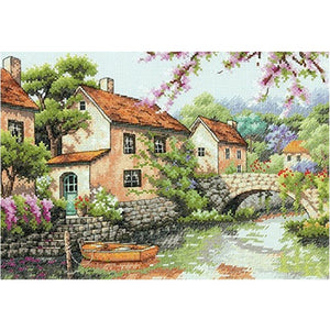 Top Quality Gold Collection Counted Cross Stitch Kit Village Canal River dim 70-35330 35330