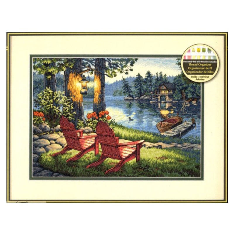 Top Quality Gold Collection Lovely Counted Cross Stitch Kit Twilight's Calm Moring Lake Chair House Villar dim 35261