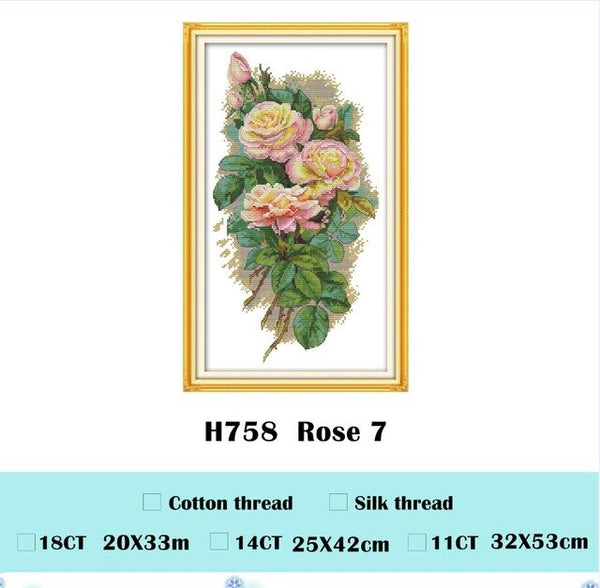 Rose poppy lily flowers cross stitch kits package 18ct 14ct 11ct cloth silk cotton thread embroidery DIY handmade needlework