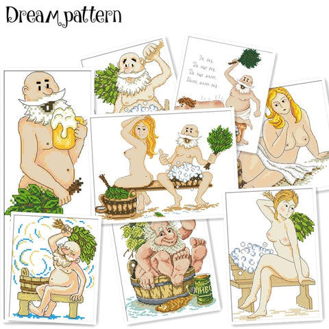 Bathe cross stitch kit cartoon people 14ct 11ct unprint count cloth embroidery DIY handmade needlework wall home decor plus