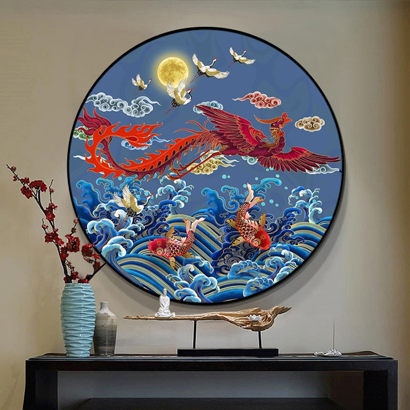 DIY DMC New Chinese style Carp Crane Crane Phoenix Round Cross stitch Sets Printed Patterns Cross stitch kits Home Decor