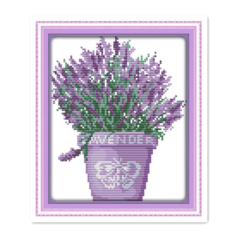 Lavender pot mini small cross stitch embroidery, 11CT 14CT handmade DIY sewing purple lavender decorative hanging paintings