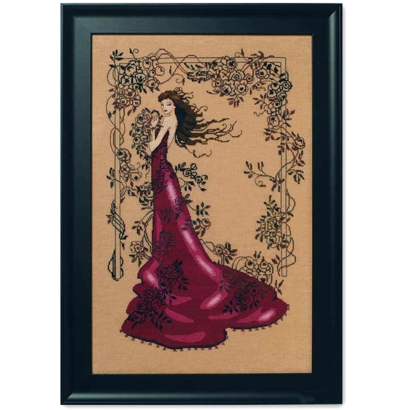 Lady of mystery cross stitch kit design 14ct 11ct linen flaxen canvas cotton silk embroidery DIY needlework