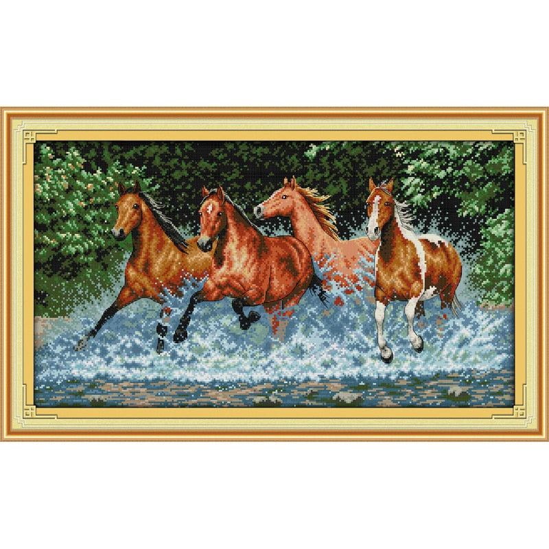 Everlasting love Christmas Horses Chinese cross stitch kits Ecological cotton counted stamped 11 14CT Christmas home decoration