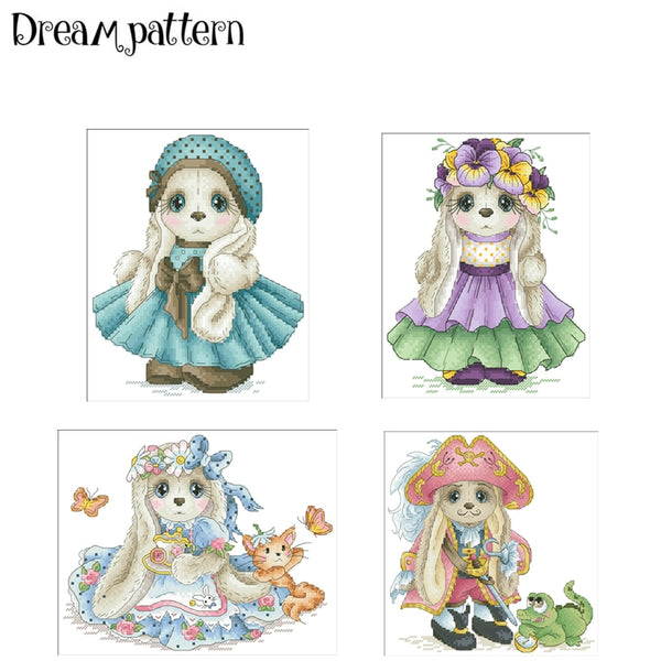 Flower Fairy rabbit cross stitch package cartoon animal 18ct 14ct 11ct cloth cotton thread embroidery DIY handmade needlework