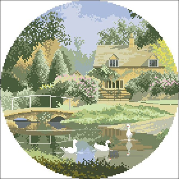 High Quality Counted Cross Stitches Kit Landscape Series scenery Bluebell Meadow duck Daffodil sheep Gypsy Caravans Autumn Light