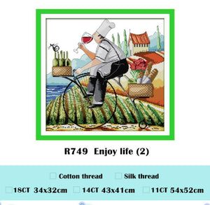 Enjoy life cross stitch kit cartoon count print 18ct 14ct 11ct cotton thread embroidery DIY handmade needlework multi pictures