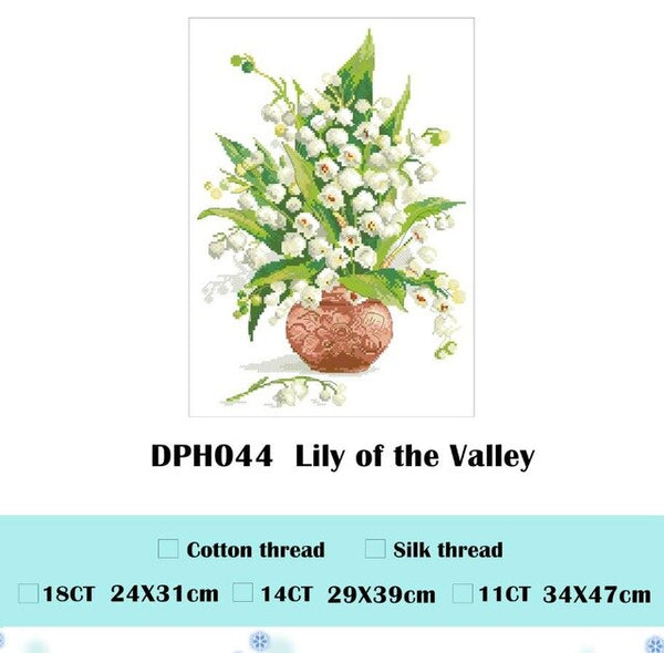 Lily of the Valley flowers cross stitch package 18ct 14ct 11ct cloth cotton thread embroidery DIY handmade needlework