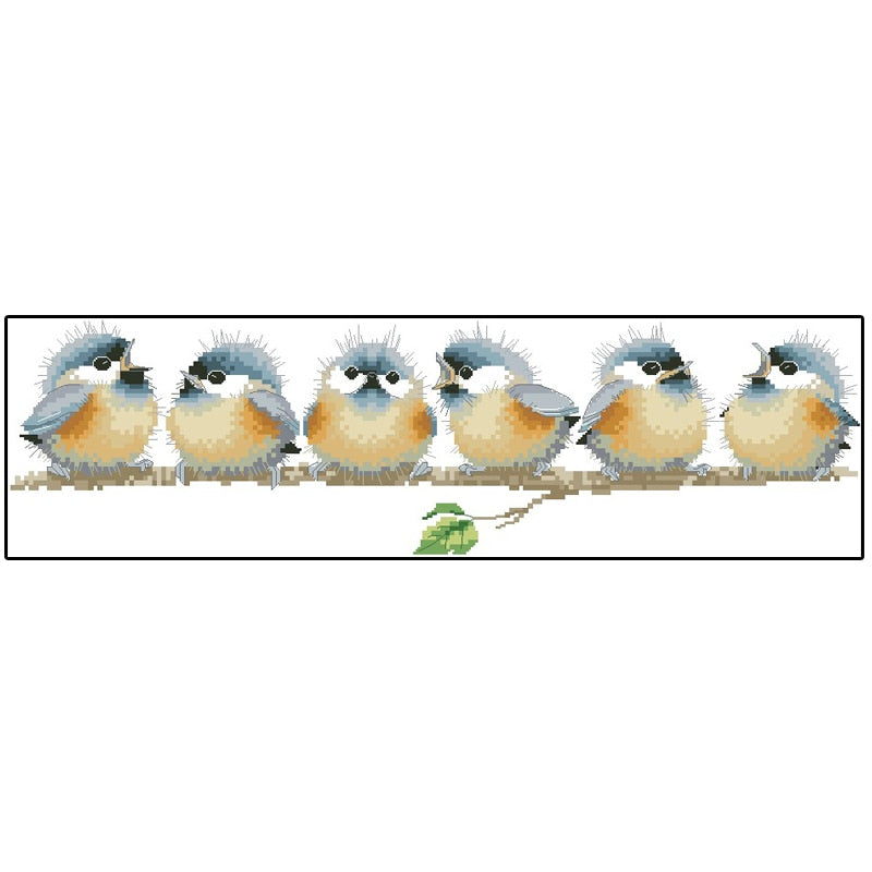 Top Quality Beautiful Lovely Counted Cross Stitch Kit Chorus Line Six 6 birds in a row