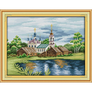 Everlasting love View in riverside Chinese cross stitch kits  Ecological cotton  stamped printed 11 CT DIY Christmas decorations