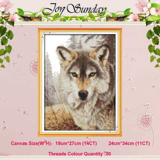 Wolf Partners Spirit Kiss Animals counted 11CT 14CT Cross Stitch Sets Wholesale DIY Cross-stitch Kits Embroidery Needlework