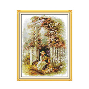 Garden girl cross stitch kit 14ct 11ct count printed canvas stitching embroidery DIY handmade needlework