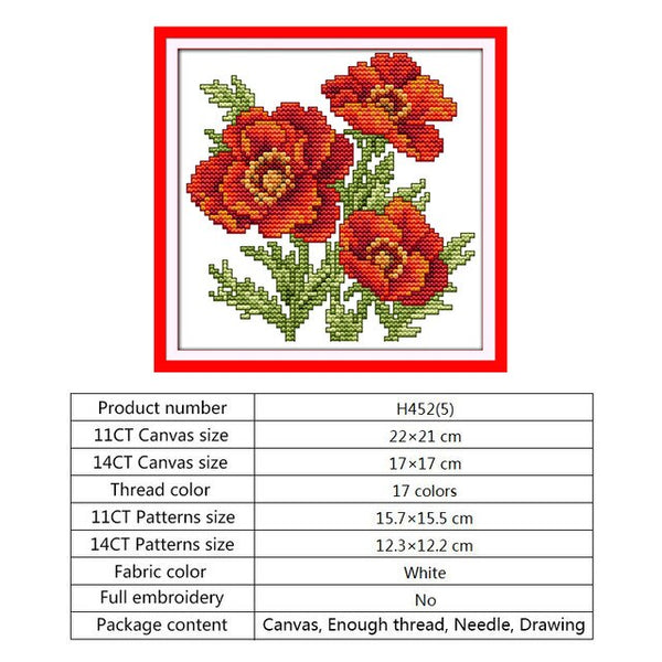 Cross Stitch Mini Patterns Flowers Series 14CT 11CT DIY Handwork Embroidery Kit DMC Needlework Set Crafts Wholesale