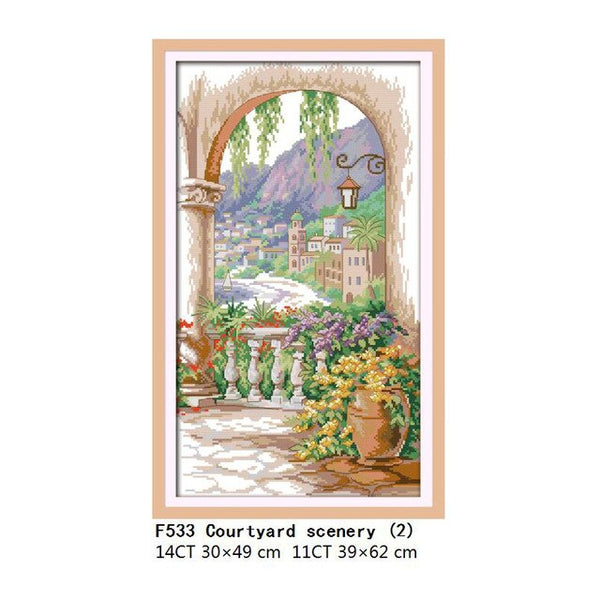 A Picnic in the Suburbs Cross Stitch Patterns Landscape Paintings 14CT 11CT DMC Counted Printed Canvas DIY Embroidery Needlework