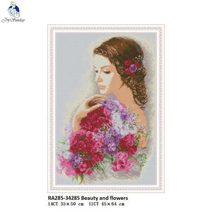 Beauty and flowers Paintings DMC Cotton Thread Crafts Cross Stitch Printed Canvas DIY Hand Made Embroidery Sets for Needlework