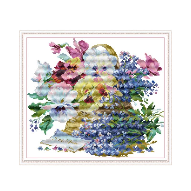Oil Painting Flowers cross stitch kit aida 14ct 11ct count print canvas cross stitches   needlework embroidery DIY handmade