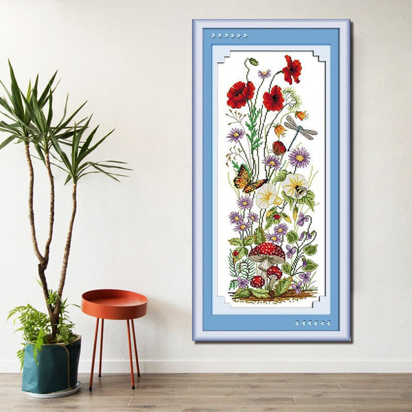 DMC Cross Stitch Kits Various flowers patterns Printed canvas embroidery needlework for the living room decor crafts
