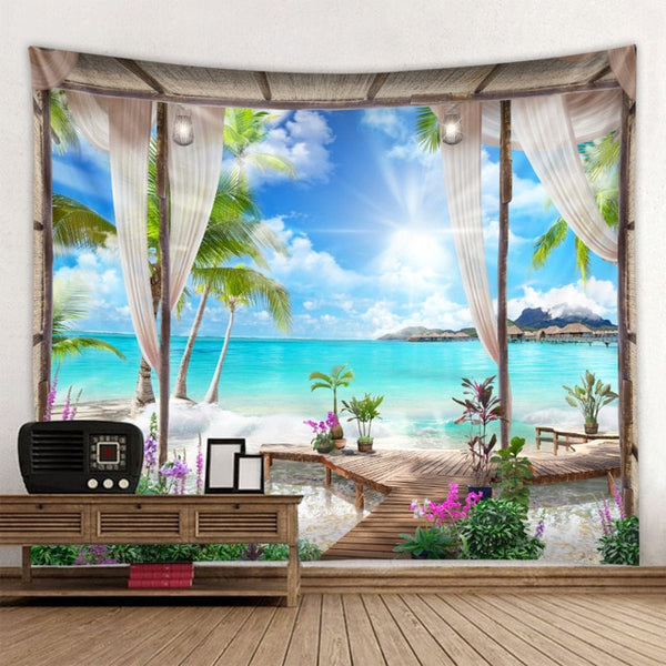 Hot sale beach and beach landscape printing tapestry wall decoration cloth a variety of sizes can be customized