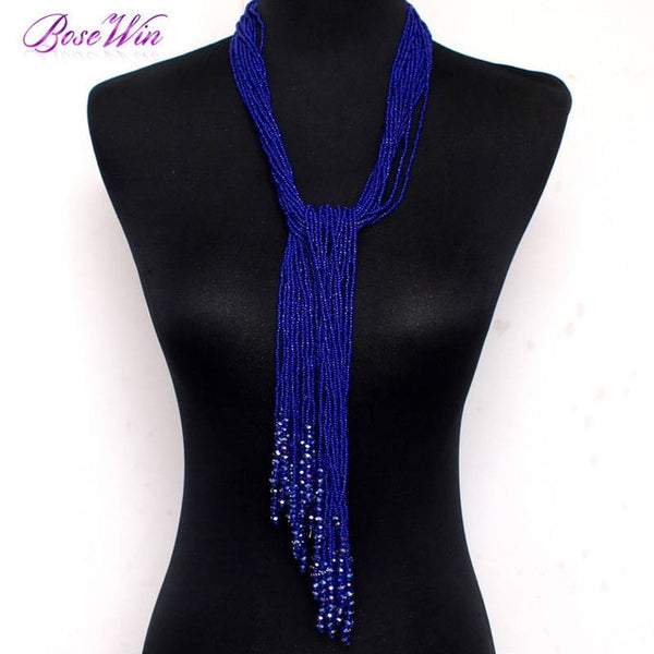 12 Color Boho Style Jewelry Handmade Beaded Long Necklace Women Resin