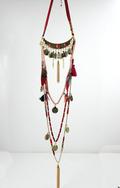 Gypsy Statement Vintage Long Necklace Ethnic jewelry boho necklace tribal collar Tibet Jewelry