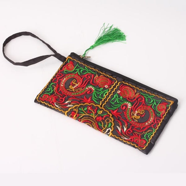 Women Ethnic National Retro Butterfly Flower Bags Handbag Coin Purse Embroidered