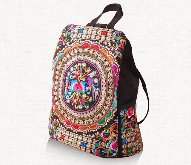 Handmade Flower Embroidered Bag Canvas National Trend Embroidery Ethnic Backpack