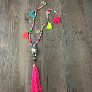 Bohemian style Nepal Ethnic Wood Feather Tassel Pendant Long Necklace Lady