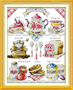 Tea cake 11CT Printed Fabric 14CT Canvas Chinese Cross Stitch Kits   set Embroidery Needlework