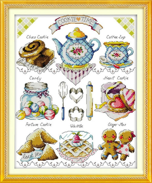 Tea cake 11CT Printed Fabric 14CT Chinese Cross Stitch Kits