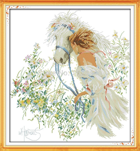 White horse and girl 14CT 11CT DMC Cross Stitch kits