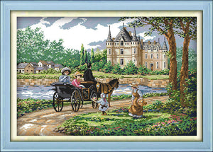 Suburban scenery Printed on Canvas DMC Chinese Cross Stitch Kits