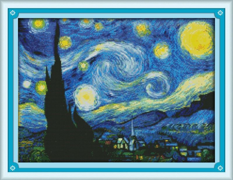 The Starry Night of Van Gogh Canvas DMC  Cross Stitch Kits printed