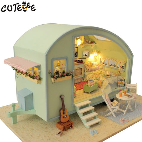 DIY Wooden Miniature dollhouse Furniture Kit Toys for children Gift  Time travel doll houses A-016