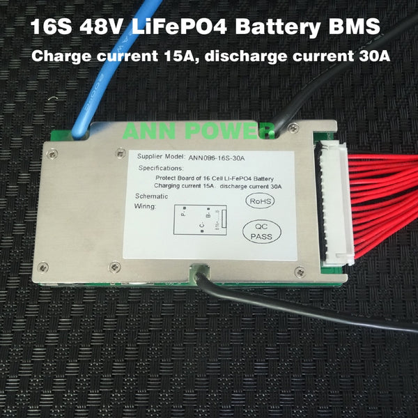 48V 30A LifePO4 battery BMS for 16S 3.2V lifepo4 cell 51.2V BMS/PCM