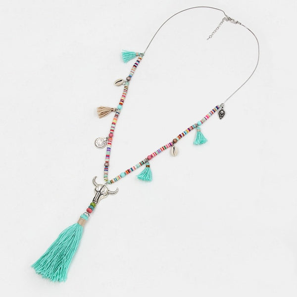 Bohemian Colorful Beads Shell Tassel Pendant Female Long Necklace for Dress