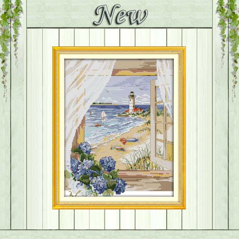 Sea view  beach flowers DMC 14CT 11CT Cross Stitch kits Embroidery Sets DIY