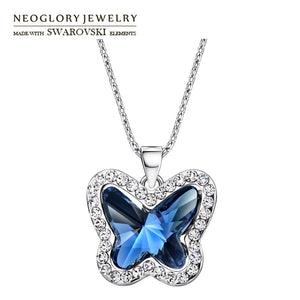 Austria Crystal & Rhinestone Charm Long Necklace Glaring Butterfly Design Alloy Plated