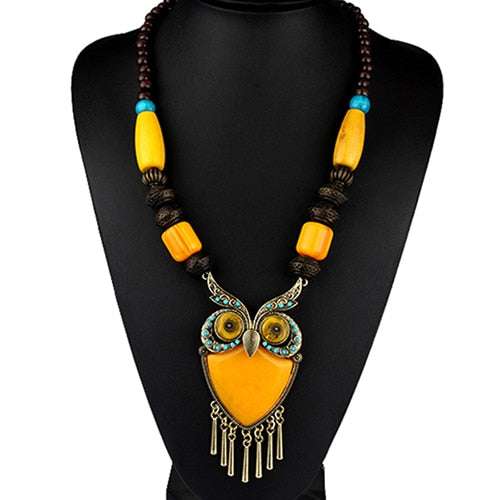 Owl Pendants Long Necklaces Vintage Statement Wood Beads Stone Animal Bohemian