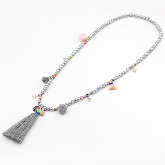 Bohemian Colorful Beads Simulated Pearl Shell Tassel Pendant Long Necklace