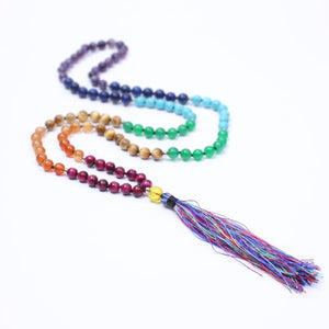 necklace Natural stone beaded tassel long necklace Meditation jewelry