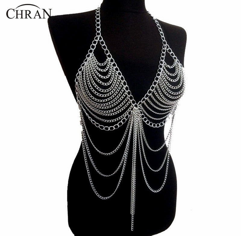 Beach Chain Necklaces Alloy Chain Bra Pendants Sexy Statement Body Jewelry BC0395