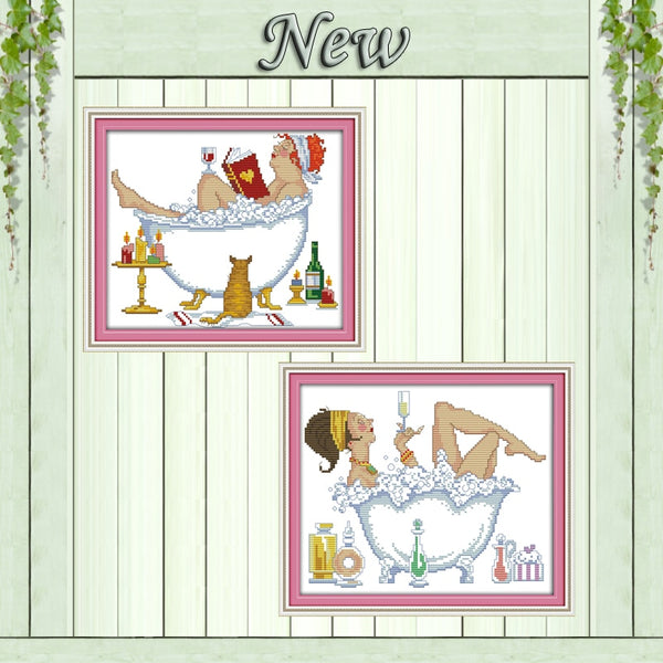 Bathing beauty cartoon decor painting counted printed on canvas DMC 11CT 14CT Chinese Cross Stitch kits