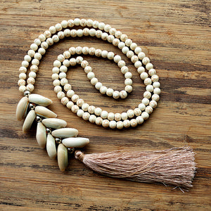 6mm White stone bead necklace with handmade Natural shell tassel
