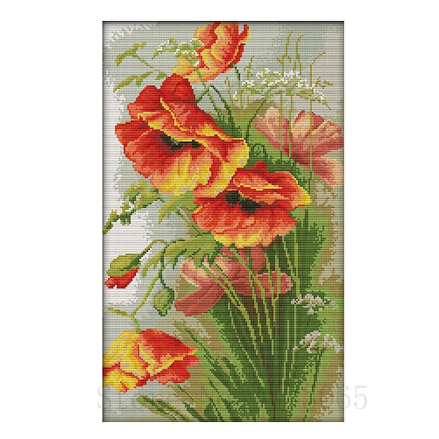 DIY Cross stitch kits 11ct 14CT Poppy Flower
