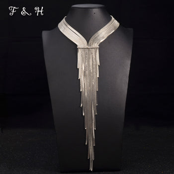 Long Necklace New Choker Crystal Tassel Pendant