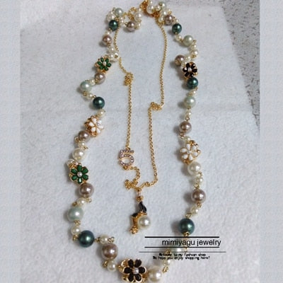 double Multi-layer Flower Pearl Necklaces pearl  jewelry