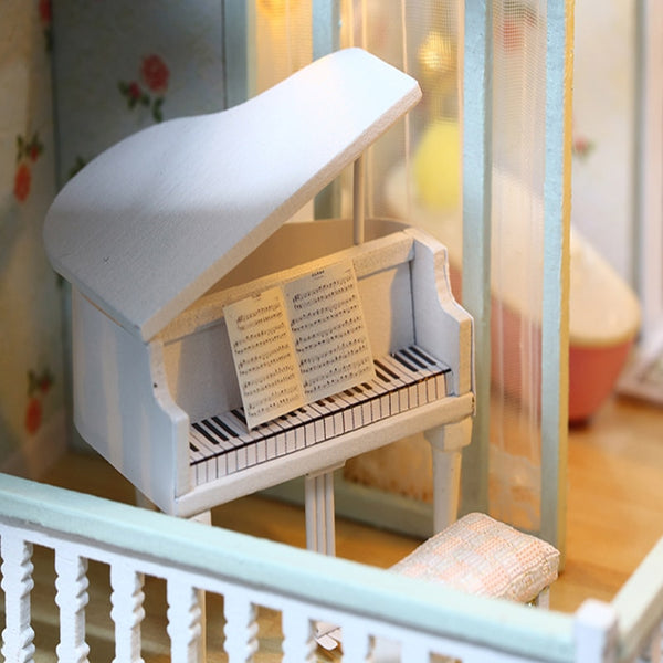 Doll House Miniature DIY Dollhouse With Furnitures Wooden Cherry Blossom Toys For Children A035